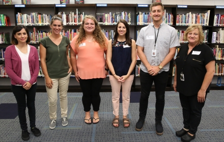Danielle Cortez (Science), Kristen Hills (Band), Anna Irons (Math 8, Geometry, Algebra 2), Catherine Moxness (7th and 8th grade Math), Reid Rohrbacher (Business), Carla Wisler (6th and 7th grade Choir) (Not Pictured: Allison Chrise, Exceptional Education