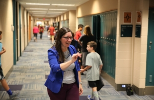 Principal Mrs. Dean-Null welcomes students on the 1st Day of School