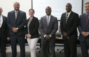 Lucas Fry, Lavon Dean-Null, Jean Milfort and Derrick White with Supt. Dr. Jerry Thacker and Board Pres. Gary Fox (6/26/17)